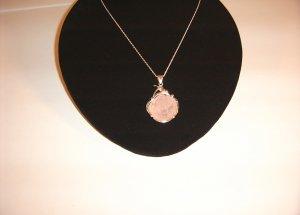 Rose Pendant in Rose Quartz Set in SS Necklace 30-0024