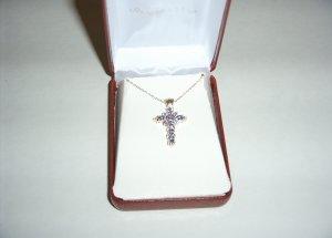 Sterling Silver Tanzinite Cross on 18in chain 30-0016