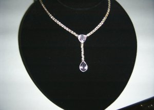 Sterling Silver Rope w/ Attached Amethyst Drops  30-0023