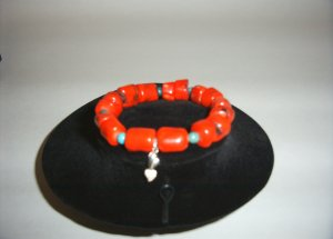 Sterling Silver Red Coral and Turquoise Bracelet 31-0007