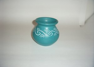Pottery- Turquoise Painted - Wave design Bowl 60-0031