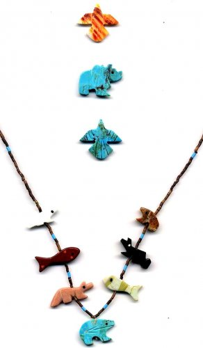 Mini Necklace-Turquoise Heartline Bear Bottom