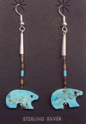 Single Dangle Turquoise Earrings-Bear