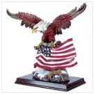 Eagle With Flag On Wood Base