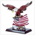 Eagle With Flag On Wood Base