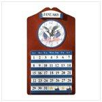 Wood Eagle & Flag Clock & Calendar