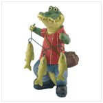 Fishing Crocodile Figurine