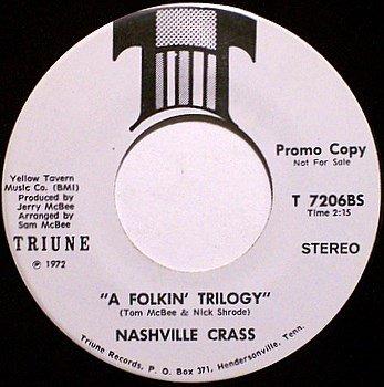 Nashville Crass - A Folkin' Trilogy / Grapplin' Guitars - Vinyl 45 Record - Triune Promo - Country