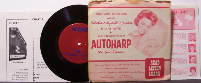 """Carter, Mother Maybelle - Autoharp Instruction - Vinyl 7"""" Record + Sleeve and Inserts - Country"""
