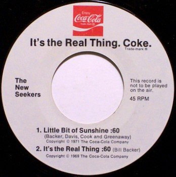 New Seekers, The - Coca Colo Promo - Buy The World A Coke - Vinyl 45 Record - Folk