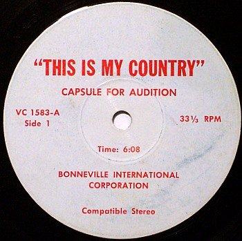 """Bonneville International Corporation - This Is My Country - Audition & Promo Spots - Vinyl 7"""" Record"""