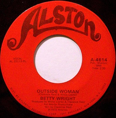 Wright, Betty - Outside Woman / Baby Sitter - Vinyl 45 Record on Alston - R&B Soul