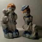 """Blue&White Porcelain Figurings Boy&Girl Boy Is 5 1/2"""" Tall Girl Is 5"""" Tall"""