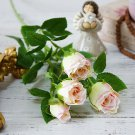 4 Heads Artificial Flowers Long Stem Decoration Silk Rose Fake Flowers Plastic Branches with Leaves