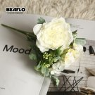 1 Bouquet Camellia Artificial Peony Rose Flowers Silk Fake flores Wedding Flower DIY Home Decoration