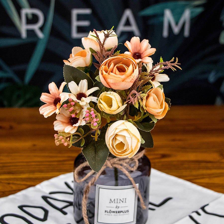 Fake tea rose silk flower  artificial plastic flower for wedding home accessories decoration room