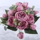 30cm Rose Pink Silk Peony Artificial Flowers Bouquet 5 Big Head and 4 Bud  Fake Flowers for Home