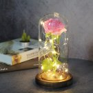 Beauty and the Beast eternal rose in a glass dome, wooden base. LED bulbs with roses
