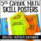 5th Grade Math Charts & Posters, Digital Version Included for Distance Learning