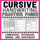 Cursive Handwriting Practice Pages, Distance Learning