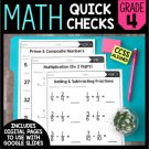 Math Quick Checks - Digital Pages Google Slides, Distance Learning