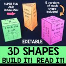 3D Shapes - Build the Shape, Read the Shape - EDITABLE