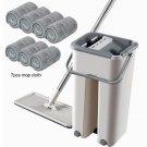 Hands-free Mop Set Flat Squeeze 7pcs Mop Cloth Bucket Hand Free Wringing Mop Multifunctional Mop