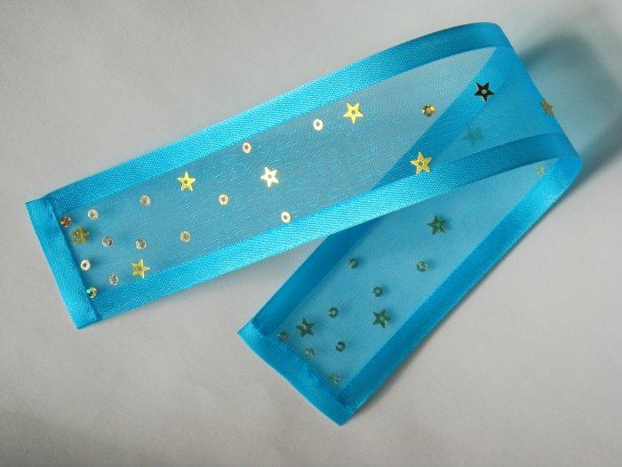 TURQUOISE DAZZLE - Turquoise Blue Ribbon Bookmark with Sequin Embelishment