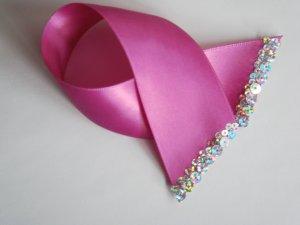 FUSCHIA FLARE - Hot Pink Satin Ribbon Bookmark with Hologram Sequin Edge