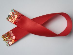 Red Satin Ribbon Bookmark with Colorful Hologram Sequin Embelishment