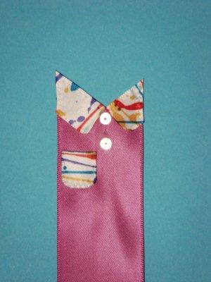Hot Pink Satin Ribbon Bookmark with Hologram Sequin and Colorful Ribbon Embelishments