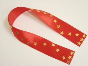 Red Satin Ribbon Bookmark with Star Shaped Sequin Zig-Zags