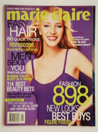 Marie Claire Magazine August 2000 Issue Vol. 7 No. 8 with Lisa Kudrow on the cover