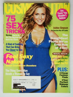 Cosmopolitan Magazine June 2007 Issue Vol. 242 No. 6 with Ashlee Simpson on the cover