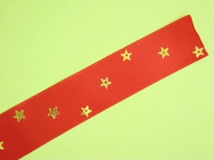 Red Satin Ribbon Bookmark with Star Shaped Sequin Zig-Zags Glued on