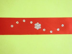 Red Satin Ribbon Bookmark with Silver Hologram Sequin Edging and Design