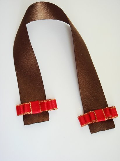 WRAPPED CHOCOLATE - Brown Satin Bookmark with Red Ribbon Bow