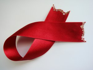 Red Satin Ribbon Bookmark with Sequin Trim