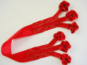 RUBY BOUQUET - Red Satin Bookmark with Dangling Ribbon Accents
