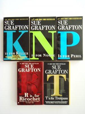 Sue Grafton Kinsey Millhone Mystery Book Lot novels 5 K N P R T