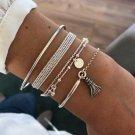 New 4PCs Simple Multi layer Bracelet for Women Individuality Half Chain Bangle  Girls Wrist Jewelry
