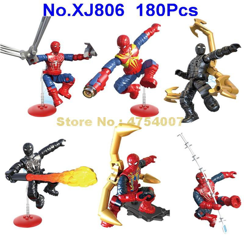 180pcs superhero 6 figures spider-man building blocks toy