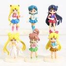 Sailor Moon Crystal Tsukino Usagi Serenity Sailor Mercury PVC Figures 6pcs/set