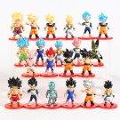 Dragon Ball Z Super Saiyan Blue Son Goku Vetega Mini PVC Figures 21pcs/set