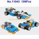 11043 109pcs 3in1 creator technic engine racing car bela building block 31072