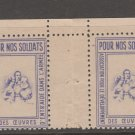 France Military Charity revenue Fiscal stamp 10-27-20 no gum crease between from booklet pane