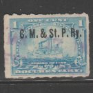 USA Printed RAILROAD pre- cancels on revenue stamps 3-7b-21-1a as seen