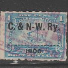 USA Printed RAILROAD pre- cancels on revenue stamps 3-7b-21-1b as seen