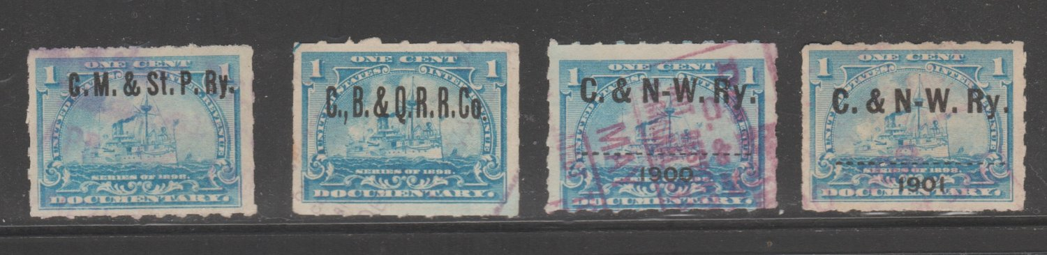 USA Printed RAILROAD pre- cancels on revenue stamps 3-7b-21-1e as seen