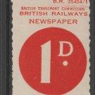 UK Cinderella Revenue stamp 4-2-21 Train Newspaper Stamp OLD MNH -NICE!